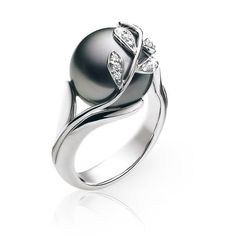 Pearl and leaf wedding ring