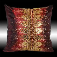 2X BURGUNDY TAFFETA GOLD SEQUINS EMBROIDERY CUSHION COVERS THROW PILLOW CASES 16