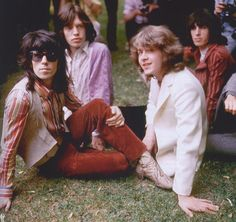 Keith Richards, Mick Jagger and Bill Wyman with their new guitarist Mick Taylor in Hyde Park, July 5 1969.