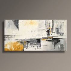 "48"" Large Original ABSTRACT Painting on Canvas Contemporary Modern Art WHITE and GRAY Black Yellow Wall Decor Home Decor - Unstretched"