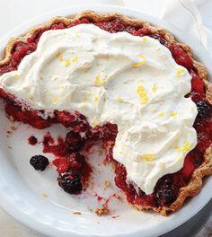 Double Berry Peach Pie with Lemon Cream