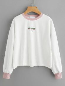 Contrast Trim Strawberry Embroidered Sweatshirt