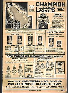 1932 ADVERTISEMENT Champion Light Bulb Lamps Tungsten Filament Store Display