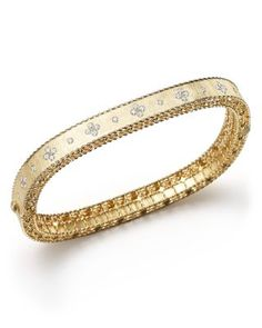 Roberto Coin 18K White Gold Symphony Braided Bangle Bracelet with Diamonds | Bloomingdales's
