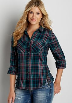button down plaid shirt with zippers | maurices