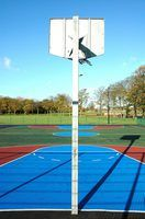 Concrete slabs make perfect outdoor basketball playing surfaces.