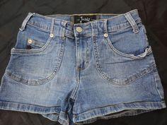 "JALATE denim Jean shorts women/juniors 3/4 medium wash mini W26"" Surf Beach BTS #JalateJeans #Denimminihotshortsstretchfit"