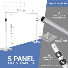 Panel Pipe and Drape Kit / Backdrop - Feet Tall (Adjustable) Comes W/ 3 Piece Uprights for Maximum Height Adjustment Voile Panels, Voile Curtains, Sheer Drapes, Beaded Curtains, Fabric Panels, Event Decor Direct, Pipe And Drape, Hospital Room, Draped Fabric