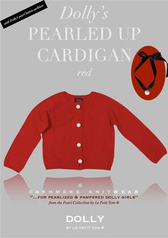 DOLLY PEARLED UP CASHMERE/MERINO WOOL CARDIGAN RED