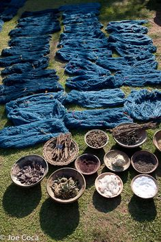 Indigo-dyed yarn at Tinkuy Gathering, Cusco Peru from ClothRoads: A Global Textile Marketplace.
