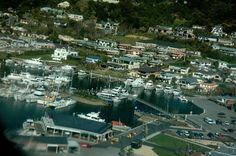 aerial shot of Picton marina Marlborough Sounds, South Island, Small Towns, New Zealand
