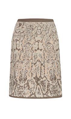 TORTOISE $185 214645 Python-patterned jacquard A-line sweater skirt.