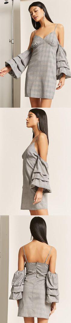 Glen Plaid Open-Shoulder Dress // 35.00 USD // Forever 21