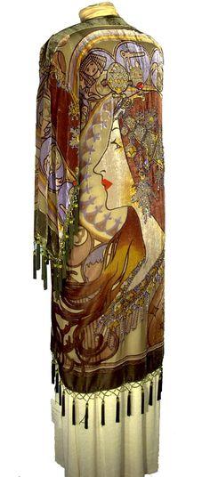 1930's Style Silk Velvet Scarf Coat - Mucha Zodiac. Women's vintage fashion history historical clothing