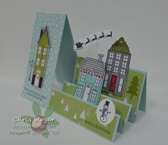 Stair Step card created with new Holiday Home stamp set and Homemade Holiday Framelits. Save 15 when you purchase the bundle. Pop Up Cards, Cool Cards, Christmas Cards, Fancy Fold Cards, Folded Cards, Side Step Card, Tarjetas Pop Up, Winter Karten, Step Cards