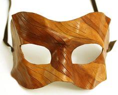 Wood Mask - Handmade Leather Mask