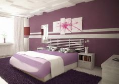 Cute Room Decor Ideas For Teenage Girl Painting Design Idea: Purple Wall  Paint Smooth Rug Ceramic Flooring Nightstand New Cute Room Decorating Ideas  Decozt ...
