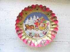 Vintage Christmas Paper Tray  Santa by thedancingwren on Etsy, $12.00