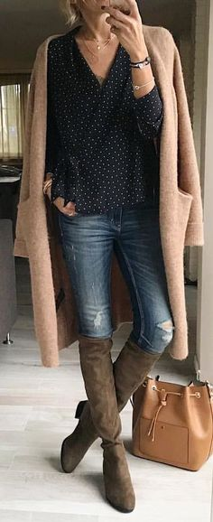#winter #outfits brown coat, black shirt, blue denim jeans and pair of brown suede wide-calf boots
