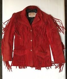 b8168199614e1 Details about Vtg Schott Nyc Western Jacket Red Leather Fringe Ranch USA  Coat Women's Size 6