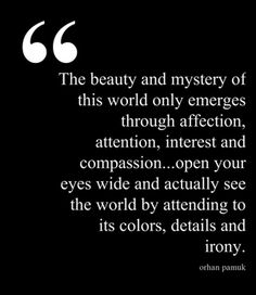 The beauty and mystery of this world only emerges through affection, attention, interest and compassion ... open your eyes wide and actually see the world by attending to its colors, details and irony. - Orhan Pamuk, My Name is Red #book #quotes
