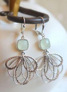 Mint Dangle Earrings in Silver
