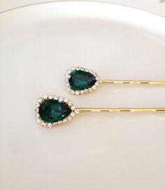 Emerald green Swarovski crystal hair pins, set, pair, hair, accessory, crystal, rhinestone, bridesmaid gift, bridal hair pins, forest green