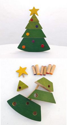 Wooden Stacking Christmas Tree Toy by Wandering Workshop on Etsy
