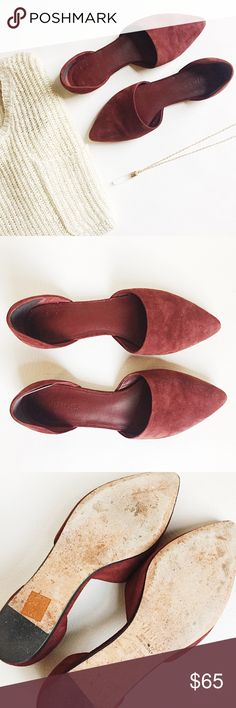 Vince Nina Suede D'orsay Flats Vince Nina Suede D'orsay flats in bordeau featuring pointed toe in a deep burgundy.  Slip on style, comfy for all day wear.  Pre-loved but in excellent condition.  Only signs of wear on soles.  Original box not included.  Adhesive heel inserts, see pic.    •  BUNDLE with sweater to SAVE and GET THE LOOK!  • Vince Shoes