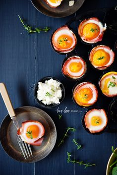 Bacon and Egg Cups with Feta Cheese and Thyme