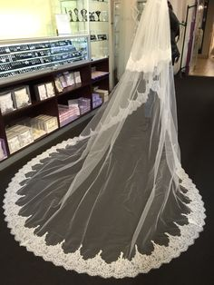 Beaded Dramatic Cathedral Length Lace Veil At Royal Accessories In Los Angeles Call For Price