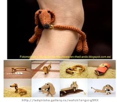 Crochet bracelet, crochet pet wristband How to make a Bangle Bracelet-Pet. Scroll down for English (although they translate dec as December, I think you can figure it out. Crochet Bracelet Tutorial, Bracelet Crochet, Crochet Amigurumi, Crochet Dolls, Knit Crochet, Crochet Horse, Crochet Crafts, Crochet Projects, Crochet Accessories