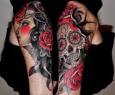 want as one full sleeve, gypsy on forearm and sugar skull on bicept