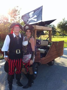 We transformed our golf cart into a Pirate Ship! So neat cruising and trick or treating :)