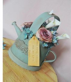 CakesDecor Theme: Watering Cans & Flower Pots - CakesDecor Fancy Cakes, Cute Cakes, Diamond Wedding Anniversary Cake, Anniversary Cakes, Beautiful Cakes, Amazing Cakes, Cake In A Can, Retirement Cakes, Garden Cakes