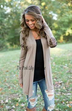 Open Front Cardigan - Sequin Elbow Patch - Mocha