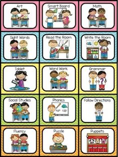 Literacy Stations and Centers Labels by A Dab of Glue Will Do First Grade Sight Words, Dolch Sight Words, Sight Word Practice, Second Grade, Classroom Helpers, Classroom Decor, 2nd Grade Centers, Reading Groups, Guided Reading