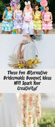 These Fun Alternative Bridesmaids Bouquet Ideas Will Spark Your Creativity! - Green Wedding Shoes #BridesmaidDressesBoho #BlackBridesmaidDresses #JuniorBridesmaidDresses #TaupeBridesmaidDresses #BridesmaidDressesTwoPiece