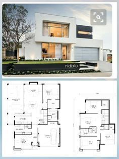 Home design plan with 4 Bedrooms Home Building Design, Home Design Plans, Building A House, Model House Plan, Dream House Plans, Plan Ville, Double Storey House, Indian House Plans, Modern Floor Plans