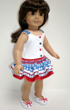 American Girl Doll Clothes Nautical Ruffled Skirt by dollupmydoll
