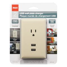 USB Wall Plate 2 USB Ports by RCA - Almond