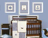 Nautical Prints for Trend Lab Yacht Club Bedding  Anchor, Captain's Wheel and Sailboat 4x4 and 4x6 set by YassisPlace
