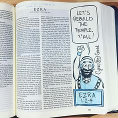 Comix Exegesis is an ongoing Bible project that began in Summer Bible Study Journal, Journal Pages, Art Journaling, Journals, Ezra 1, Blue Bible, King Of Persia, Illustrated Faith, New Thought