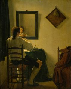 Young Man Sharpening his Pen, 1784, by Jan Ekels II