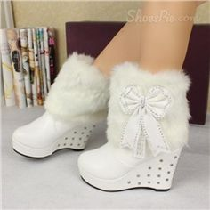 New Arrival White PU Wedge Heel Ankle Boot
