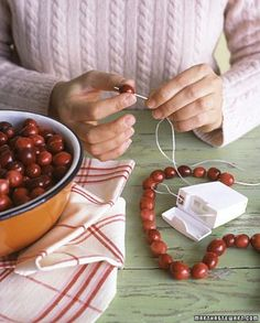 Use dental floss for cranberry or popcorn garlands.