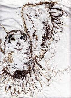Owl illustration by RosieG Embroidery, via Flickr.