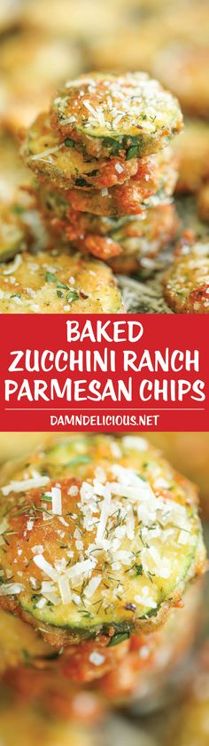 Baked Zucchini Ranch Parmesan Chips - Perfectly crisp-tender zucchini chips baked from start to finish - guilt-free, healthy and just so stinking good!