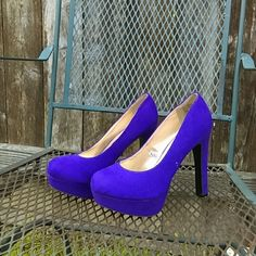 Purple heels Purple heels. These appear blue in pictures but they are purple. These have been worn once** ! Great Condition. No flaws.suede type heel. Mossimo Supply Co. Shoes Heels