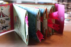 An adorable handmade book with slide-out pages. Crzymom's Tidbits: Club Scrap Big Top Blog Hop #clubscrap